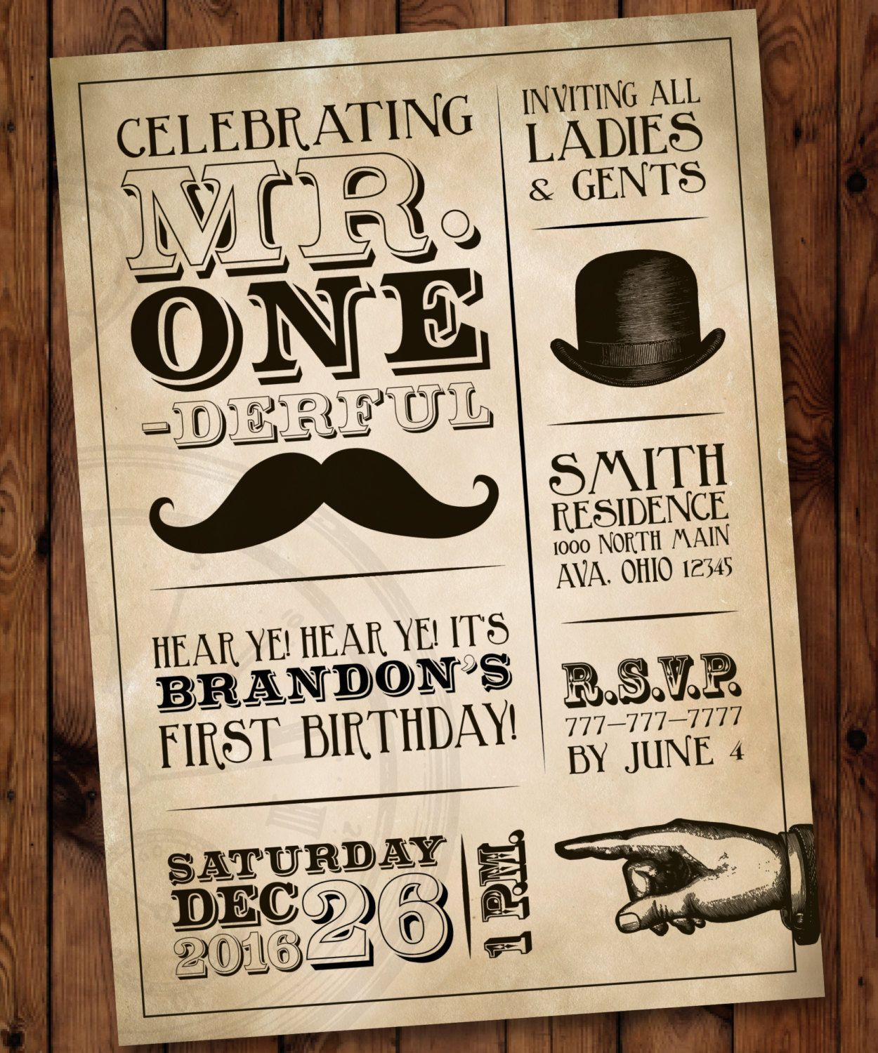 Mr One-derful Birthday/Boy First Birthday Invitation/Mr Onederful/Mr ...