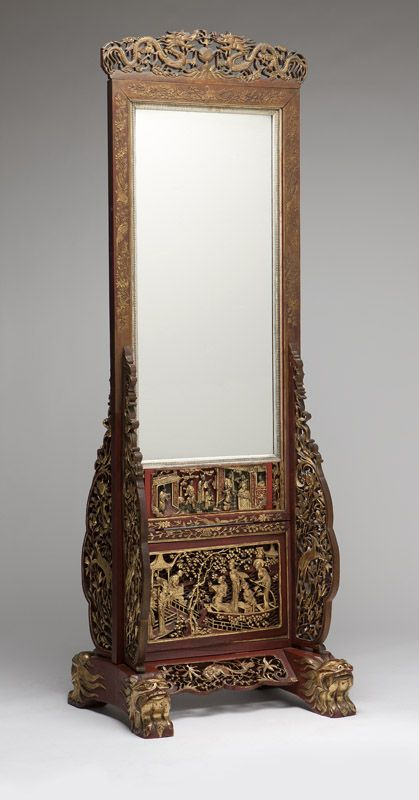 A Chinese Carved And Polychrome Wood Floor Mirror By John Moran