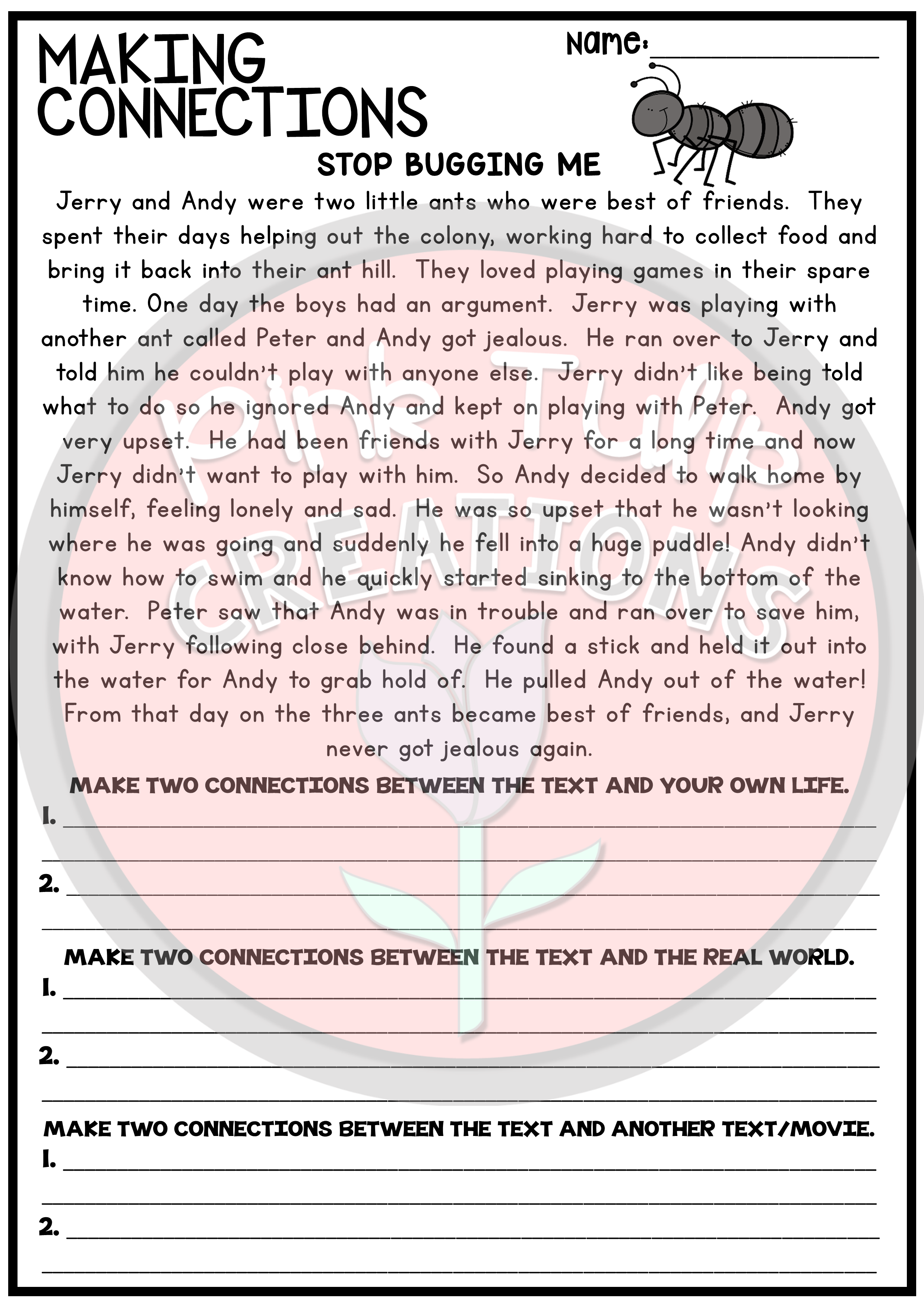 - Making Connections - Reading Worksheet Pack (With Images