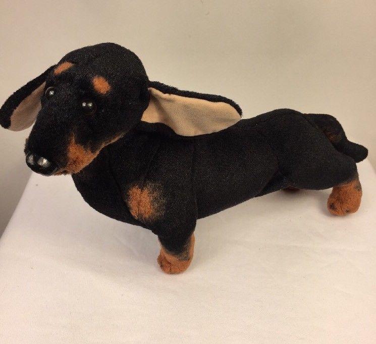 Realistic Dachshund 15 Plush Dog Black Brown Stuffed Animal Toy