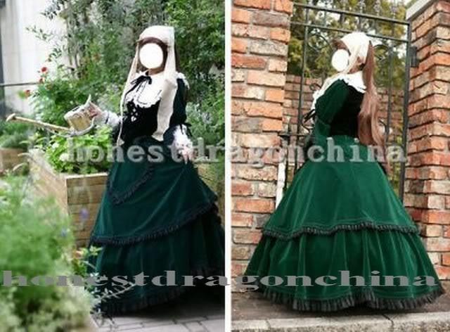 Rosen Rozen maiden Gothic Lolita Velvet cosplay costume Suiseiseki Jade Dress #Handmade #Casual