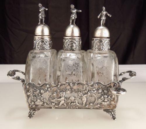 Vintage 800 German Hanau Silver Perfume Scent Bottles in Antiques, Decorative Arts, Glass, Perfume Bottles   eBay