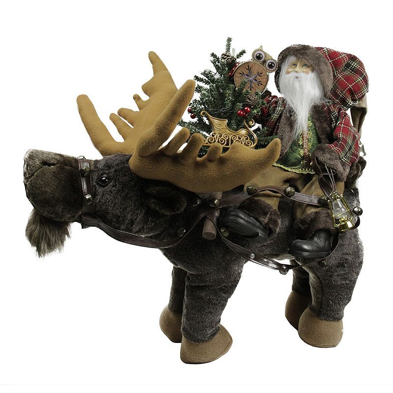 Rustic Santa  Moose Figure Christmas Decor, Red Christmas decor