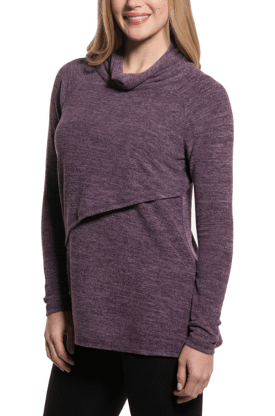 4dac26b7e4 NURSING QUEEN Asymmetrical Nursing Sweater - Purple