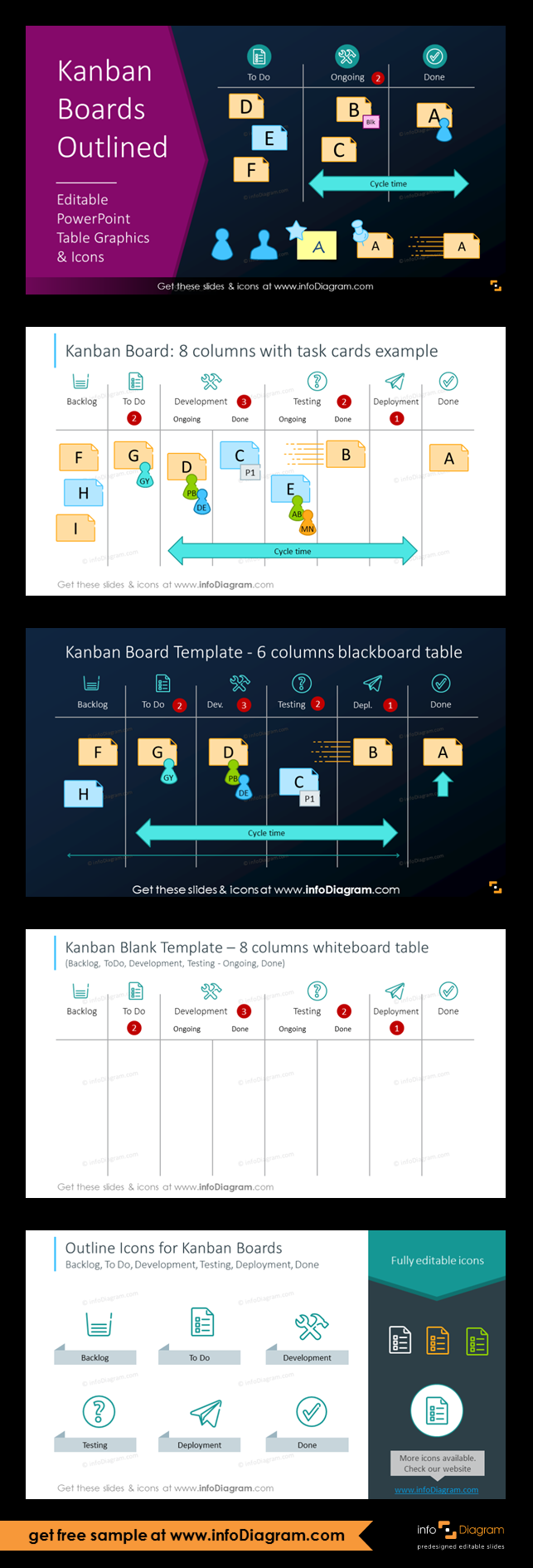 medium resolution of the outline style kanban template in light modern style outline icons task cards and