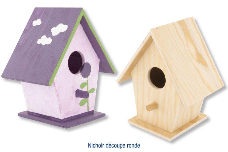 nichoir oiseaux poser en bois avec d coupe ronde decoration mariage pinterest. Black Bedroom Furniture Sets. Home Design Ideas