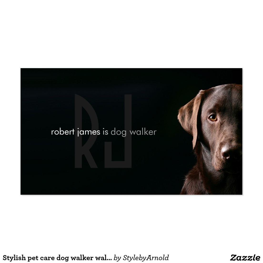 Stylish pet care dog walker walking business card | Pet care and Dog