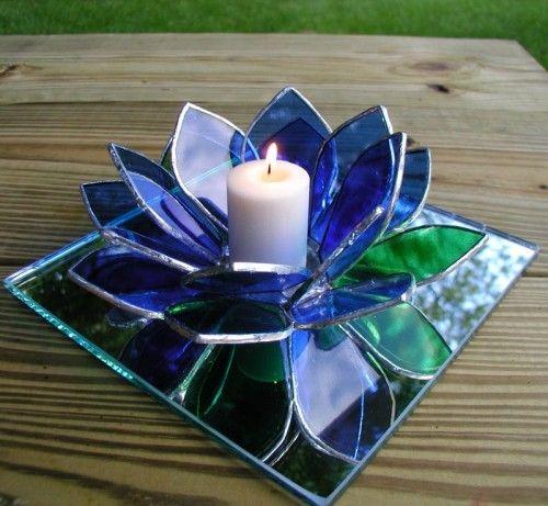 Blue Lotus Flower Tea Light Glass Art I Love Tea Lights Stained