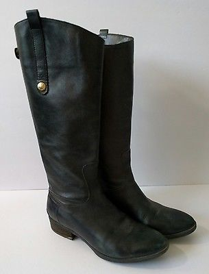 25878764abfa ... Women s Shoes by Alexandra. Sam Edelman Penny Boots 7.5 M Black Leather  Knee High Riding Gold Accent