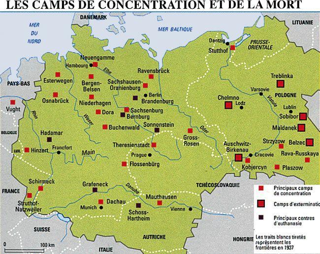 carte des camps de concentration Épinglé sur Guerre 1939   1945