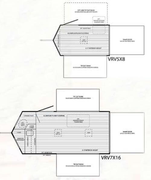 Quicksilver VRV Cargo Trailer And Camper Floorplans