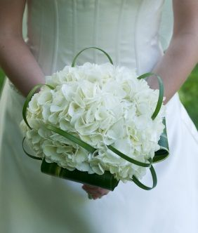 A Round Bridal Bouquet Using White Hydrangeas Collared By Folded Draceana