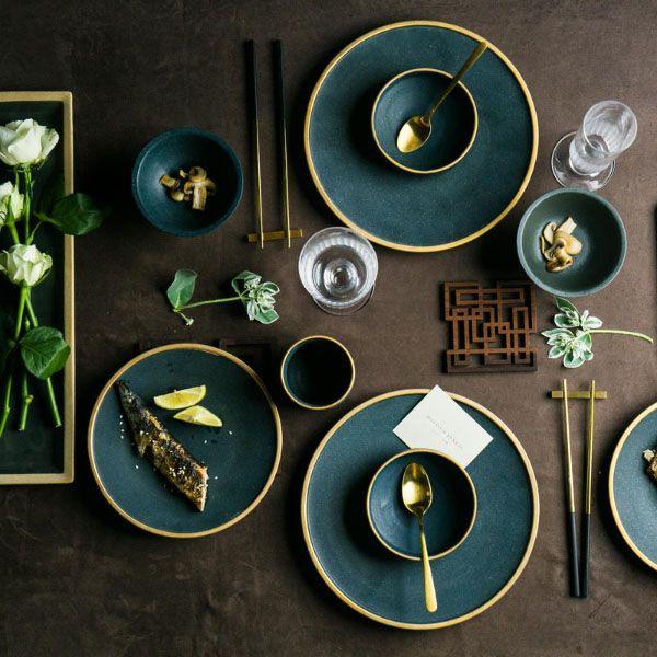 Asian Ceramic Dinnerware Set From Apollo Box Ceramic Dinnerware Set Green Dinnerware Gold Dinnerware