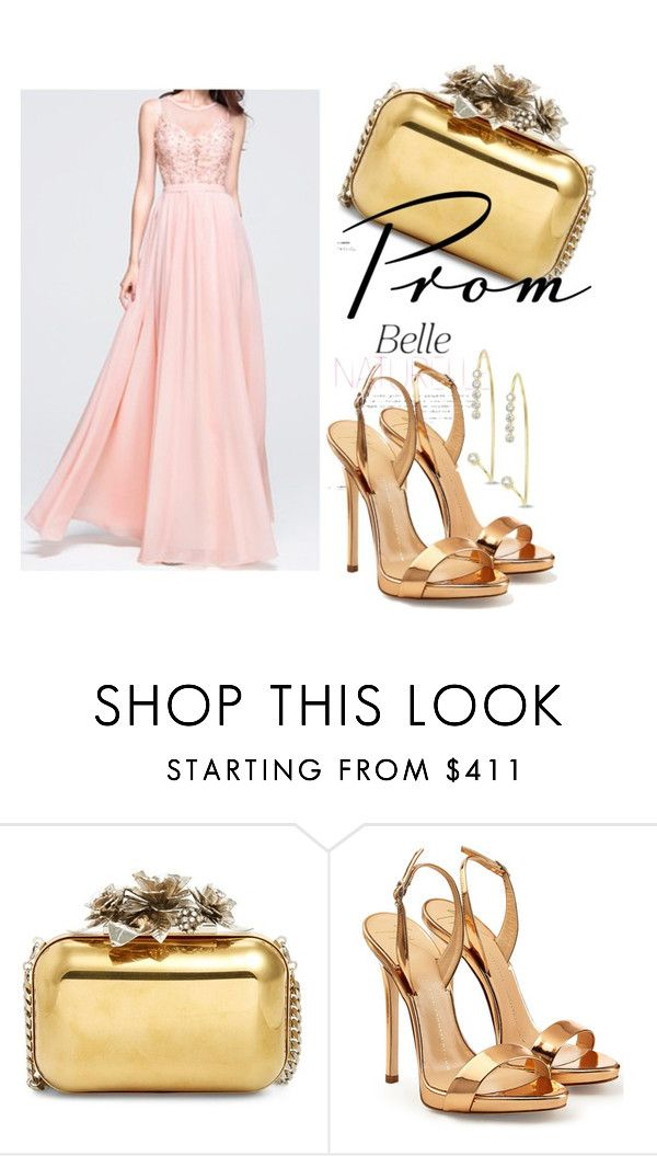 """""""Pearl Pink A Line Princess Scoop Neck Floor Length Chiffon Prom Dress Beading Appliques Lace Sequins Harry Dress HD70349"""" by harrydress on Polyvore featuring Jimmy Choo and Giuseppe Zanotti"""