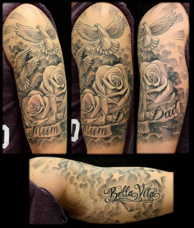 Doves Roses Inkfreakz Com Sleeve Tattoos Half Sleeve Tattoo Cloud Tattoo Sleeve