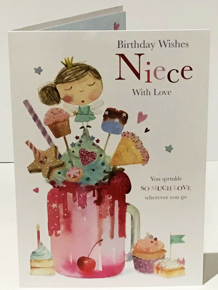 NIECE Birthday Card With Love 8.5 x 6 Inches Words