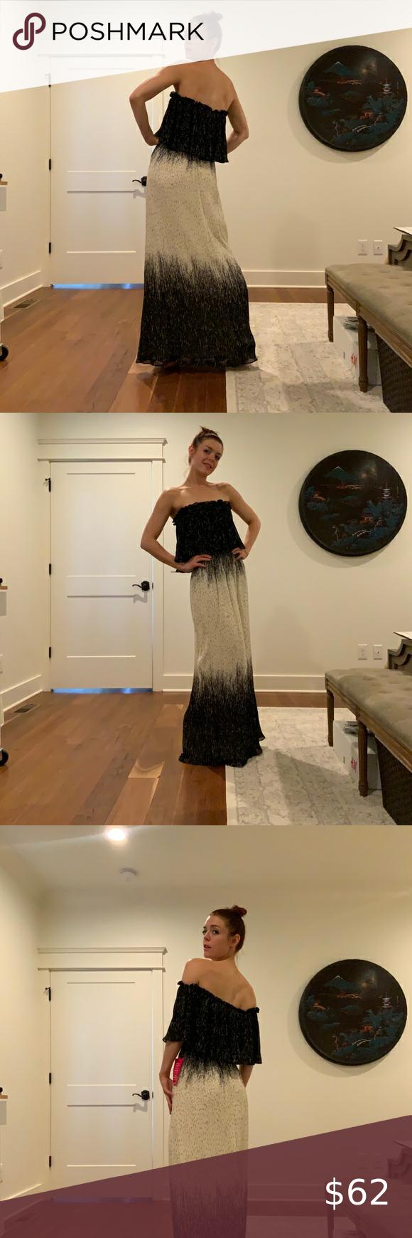 Dillard S Halston Strapless Black And Cream Gown Dress Size Chart Women Long Black Evening Dress Cocktail Dress Code [ 1740 x 580 Pixel ]