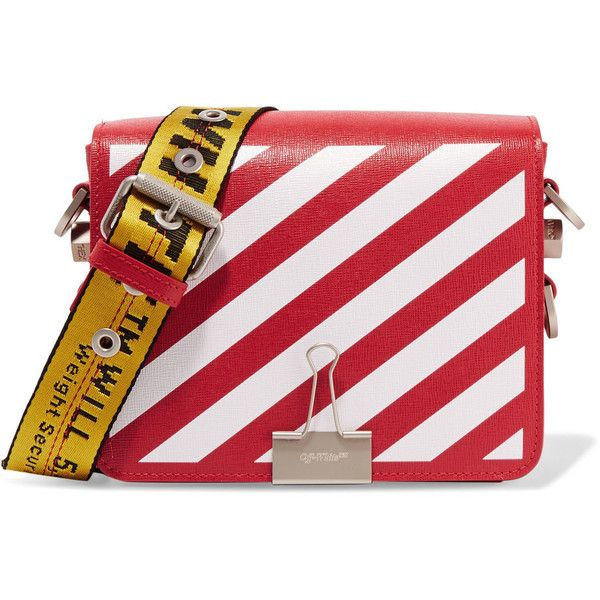 41ff763beffc Off-White Striped textured-leather shoulder bag ( 1