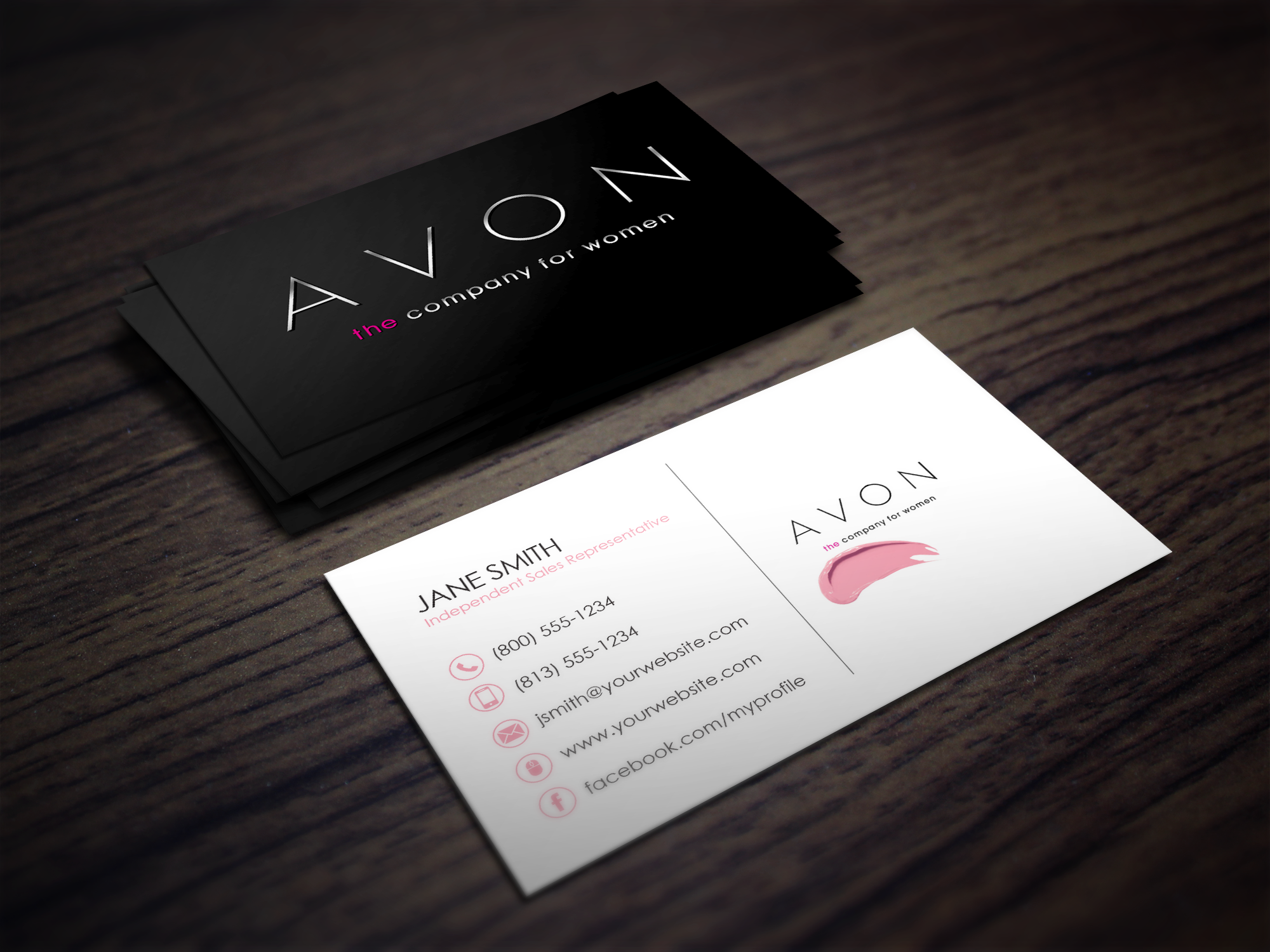 Chic and Simple Avon Independent Consultant business card design ...