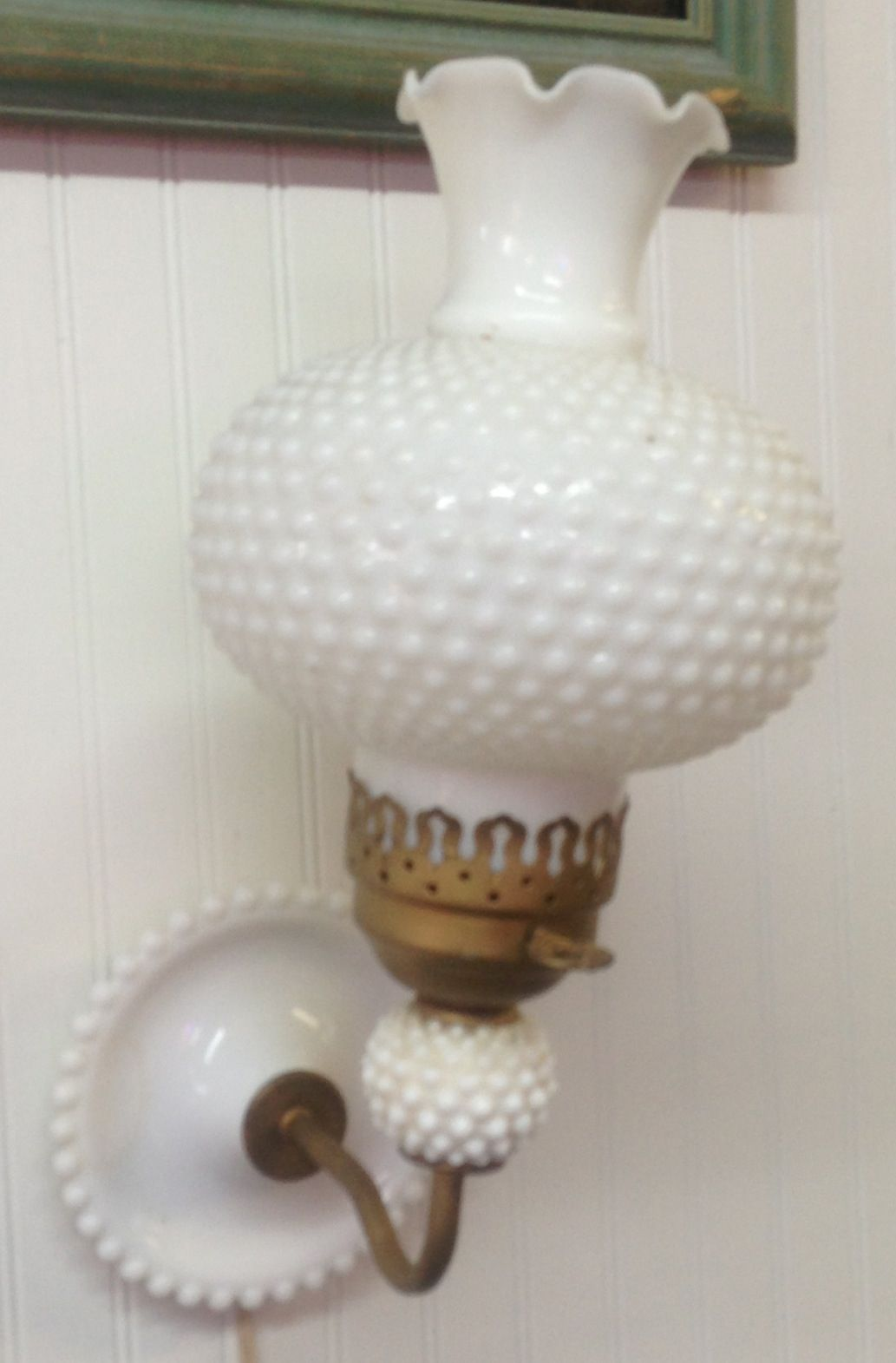 Milk Glass hobnail wall Sconce