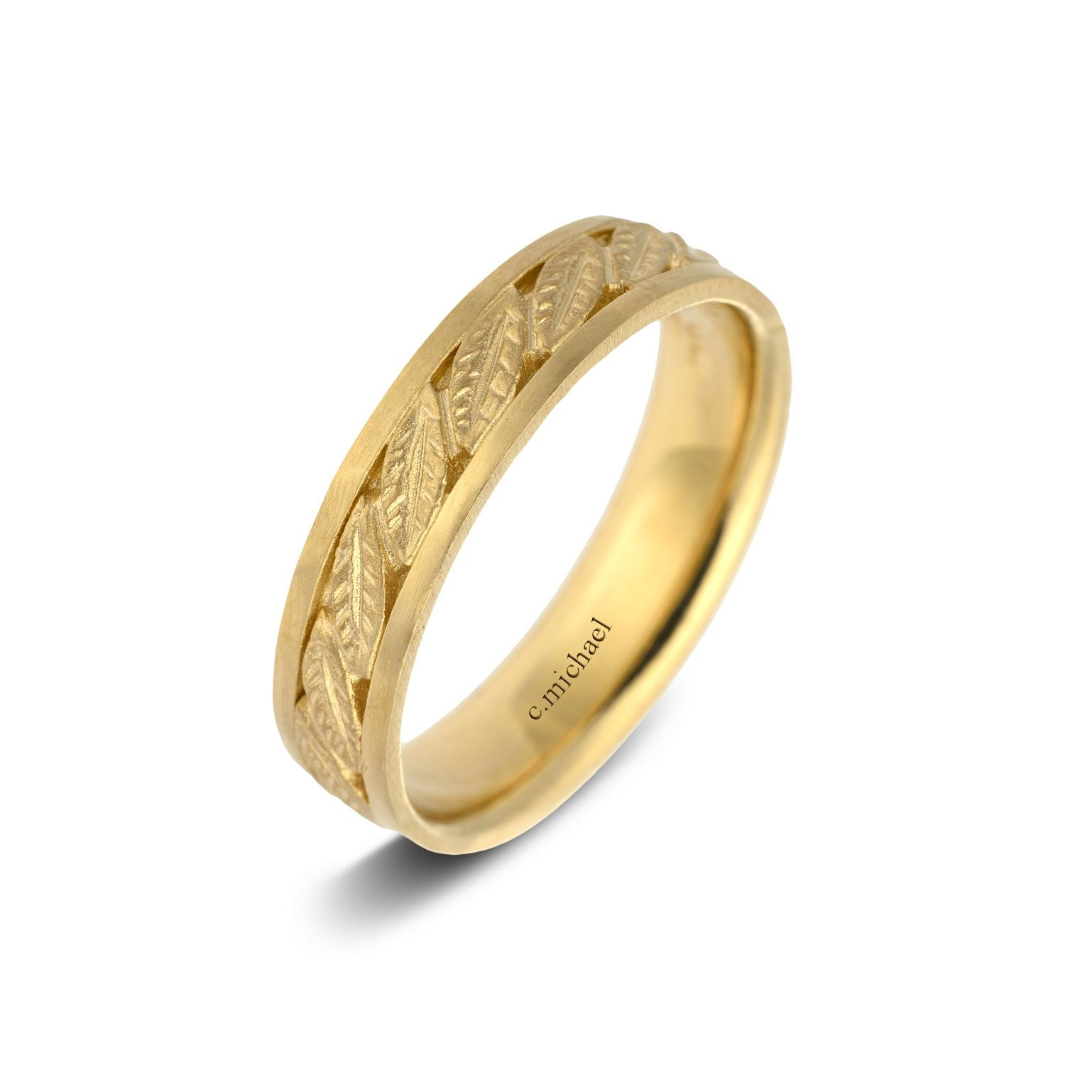 Wedding Band 14k Yellow Gold Ring Delicate Texture Woman Leaves Leaf Bridal