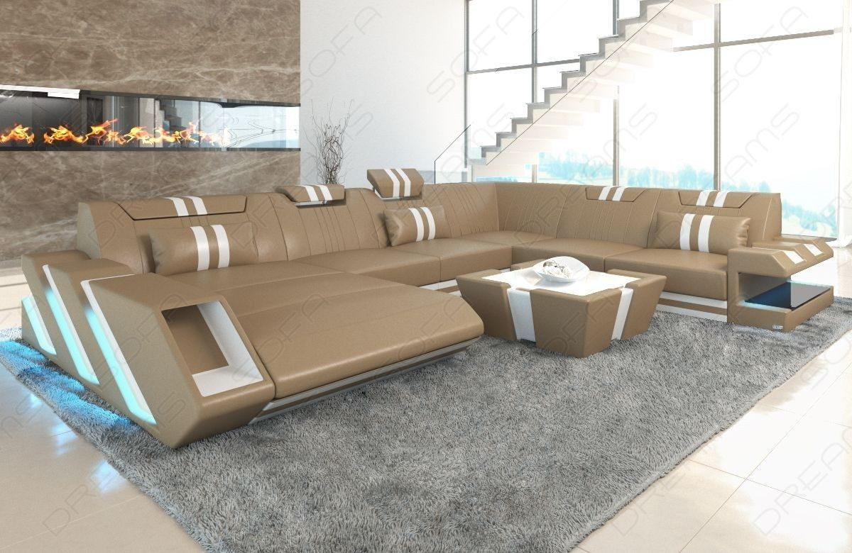 Leather Sofa New Jersey Xl With Led With Images Interior
