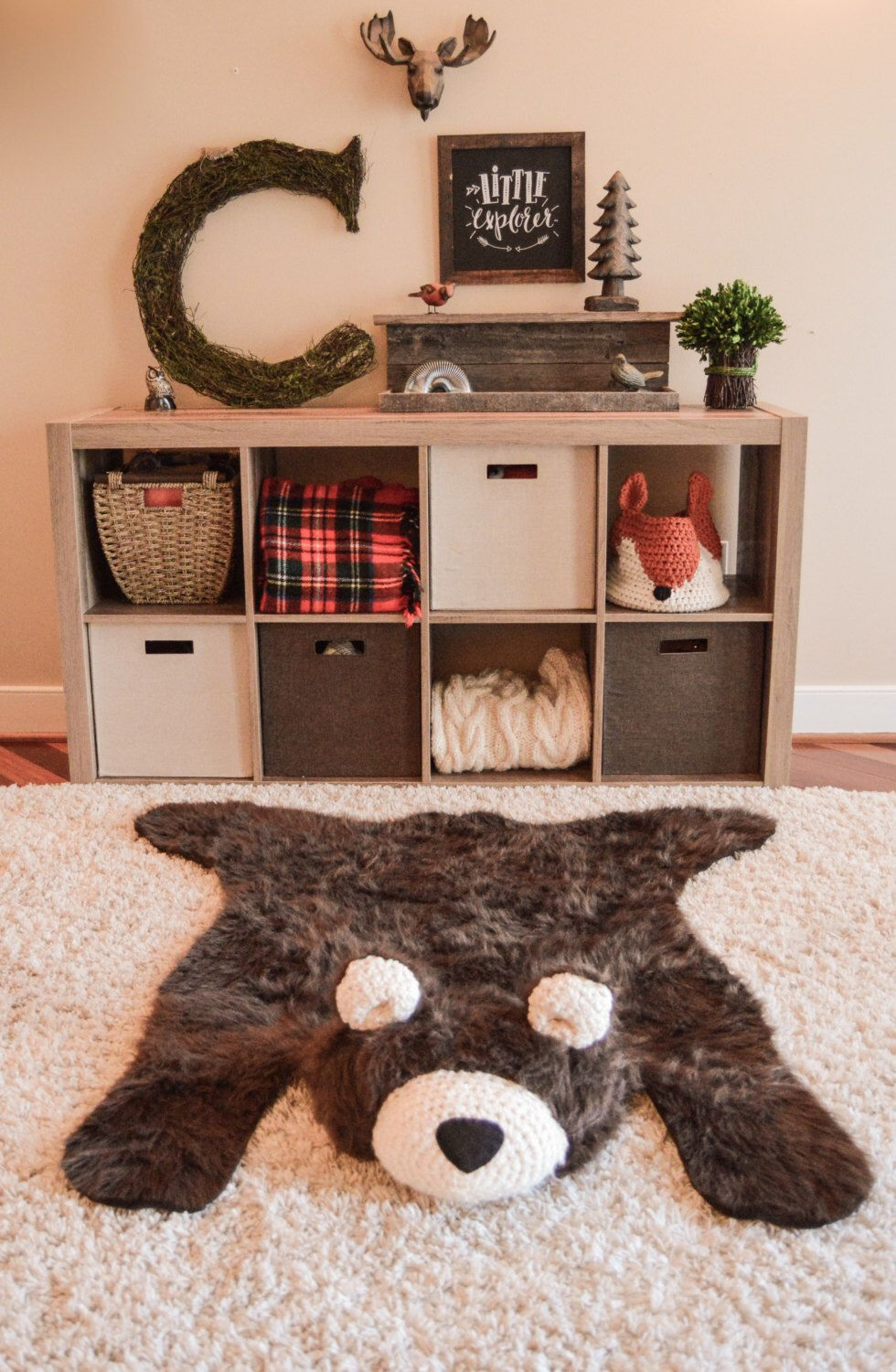 Bear Rug Faux Woodland Nursery Baby Room Decor Animal