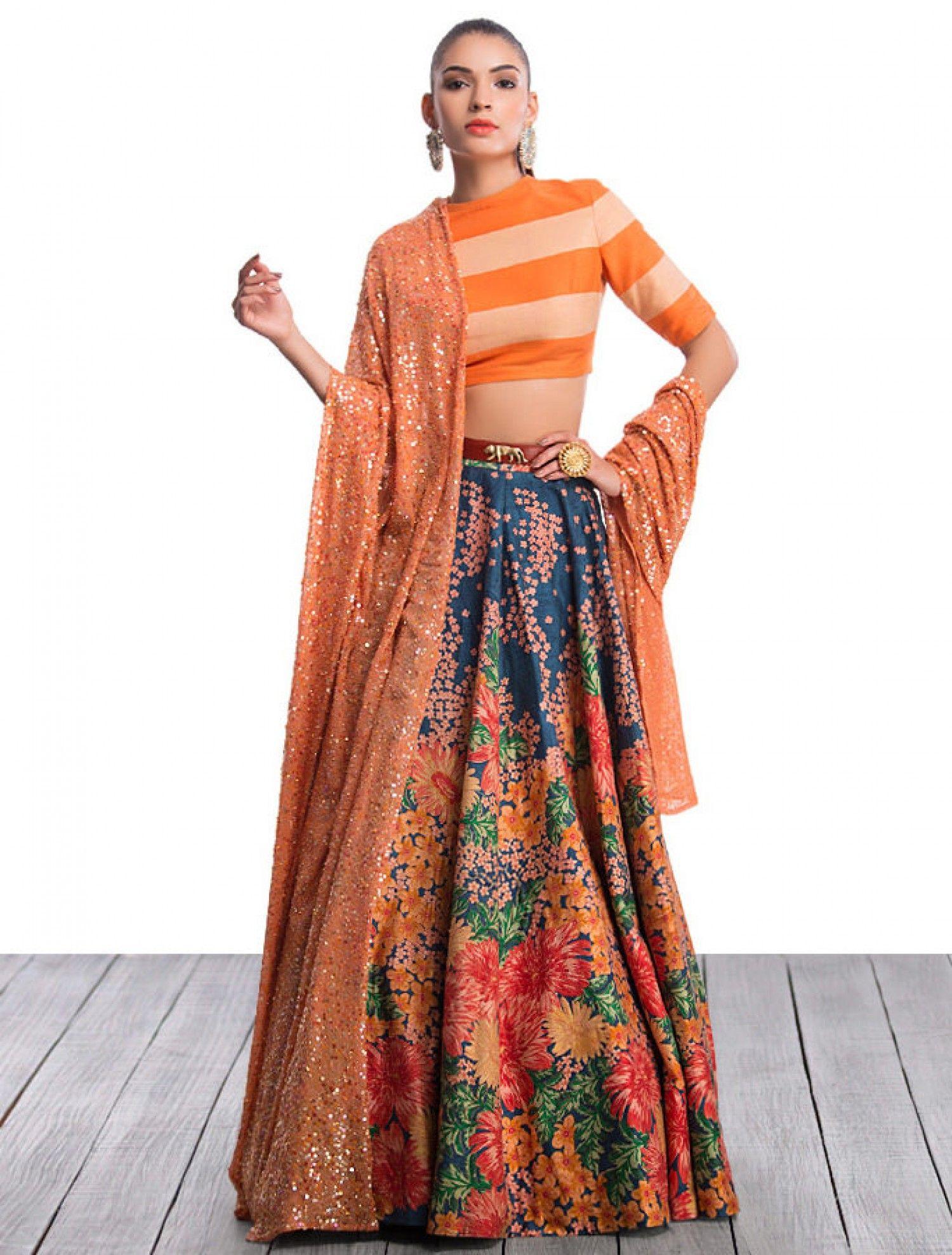 2e250fafdfc409 Sabyasachi Mukherjee - Look #38 Floral Printed Lehenga With Crop Top ...