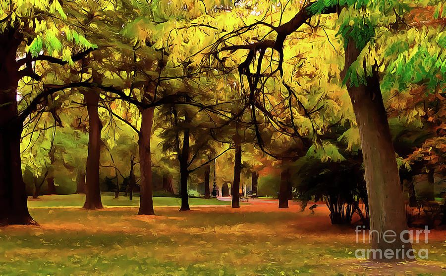 Autumn Scenery In The Park Painting #autumnscenery