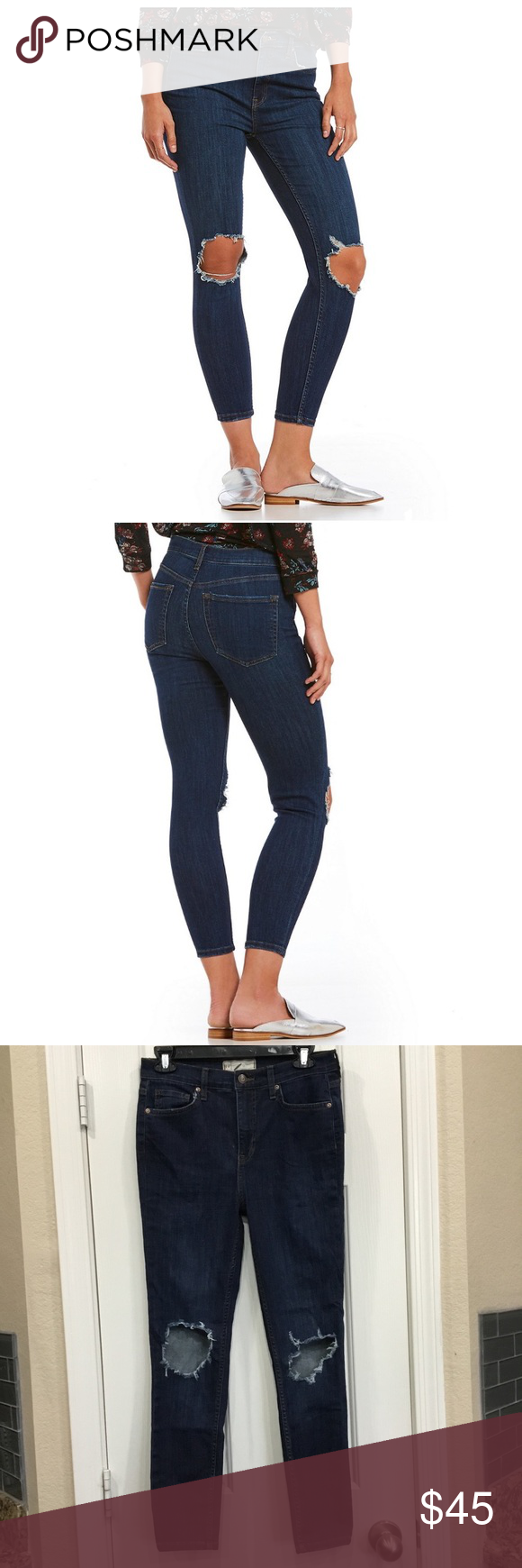 2a9d6998388 Free People We The Free Busted Skinny Jeans Super stretchy high rise  skinnies featuring busted out knees and raw edges. Ankle grazing inseam.