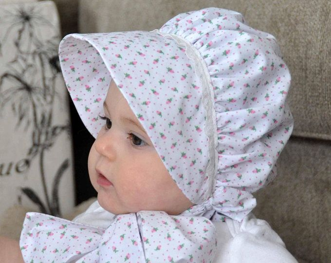 Baby bonnet , baby girl, sun bonnet , pink sun bonnet , pink hat with lace and polka dots, size 0 to 3 months , baby hat, sun hat