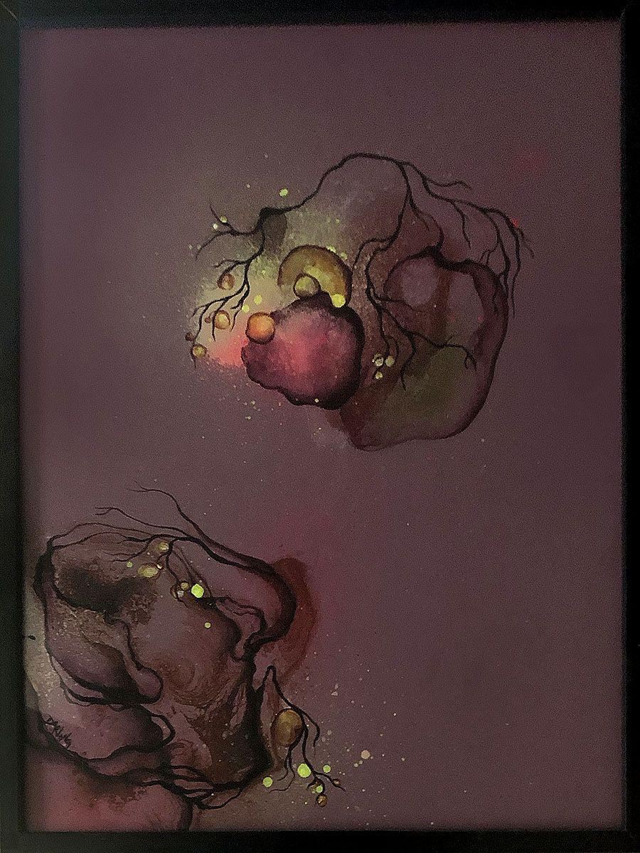 Et Lille Maleri I Bordeaux Timer Maleriet Er I En Abstrakt Stil Og Handler Om Naturen I Mennesket Og Mennesket I N Abstrakte Malerier Malerier Abstrakt Kunst