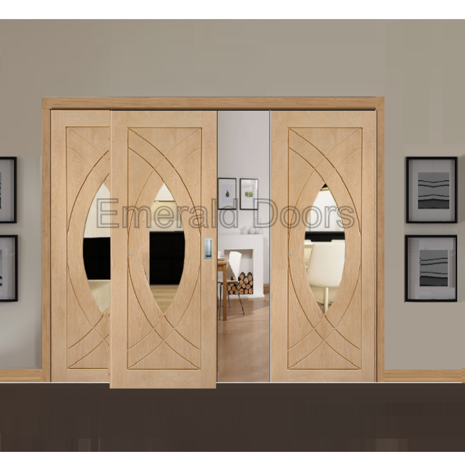 Oak treviso sliding door with two fixed side panels