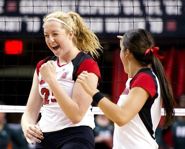 Nebraska Freshman Meghan Haggerty 20 Reacts After A Kill With Teammate Lauren Cook During A Match Against Michig Nebraska Michigan State Nebraska Cornhuskers