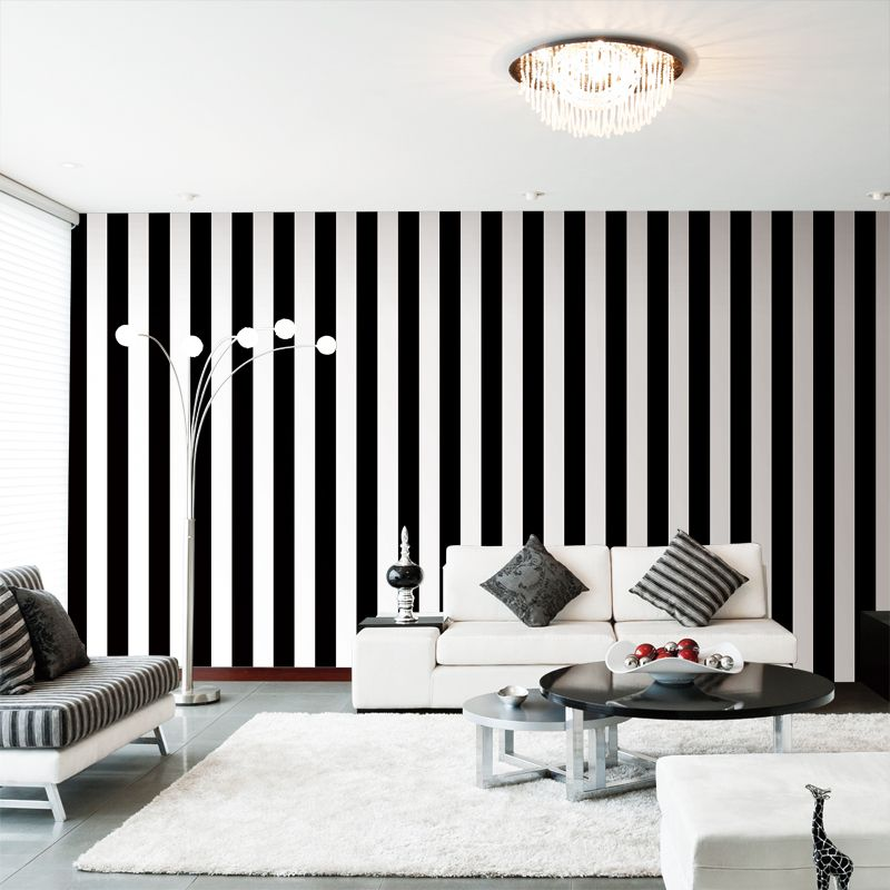 Black And White Striped Living Room Wallpaper Striped Walls Vertical Striped Wallpaper Striped Wallpaper Living Room #wall #paper #decorations #living #room