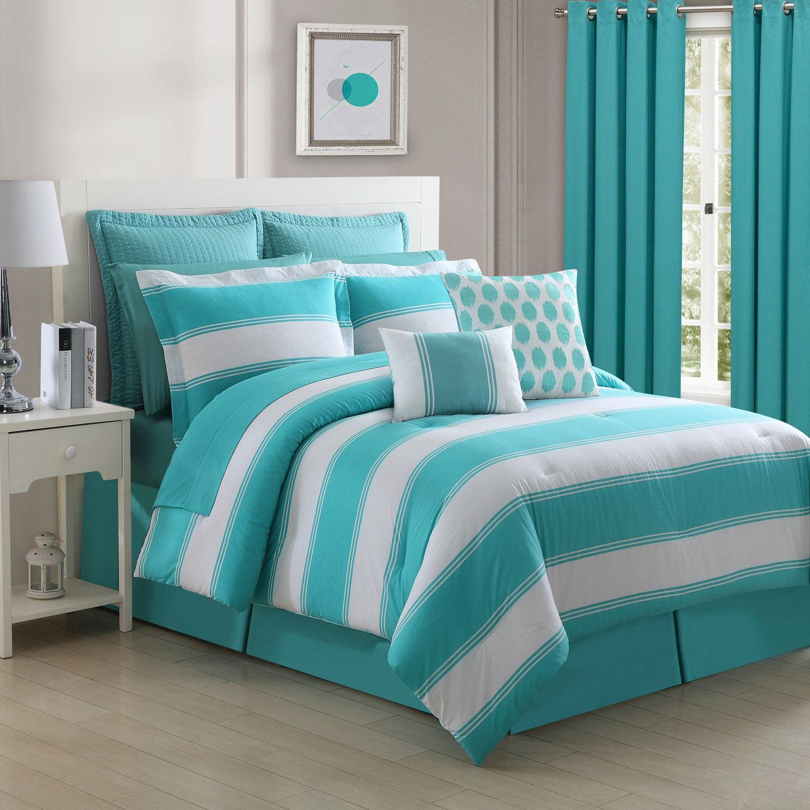Cabana Reversible 200tc Stripe Comforter Set By Fiesta Bedding