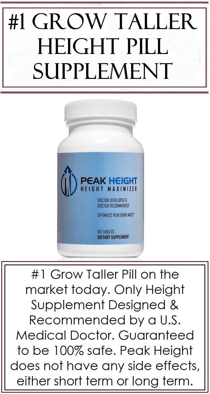 1 Grow Taller Height Pill Supplement Peak Height 12 Month Supply