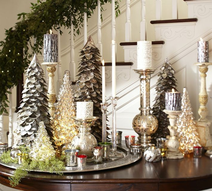 Decoration, Charming Christmas Centerpieces Ideas On Holiday Table Decor  With Candles And Miniature Christmas Trees Ornaments: Finding a Chr.