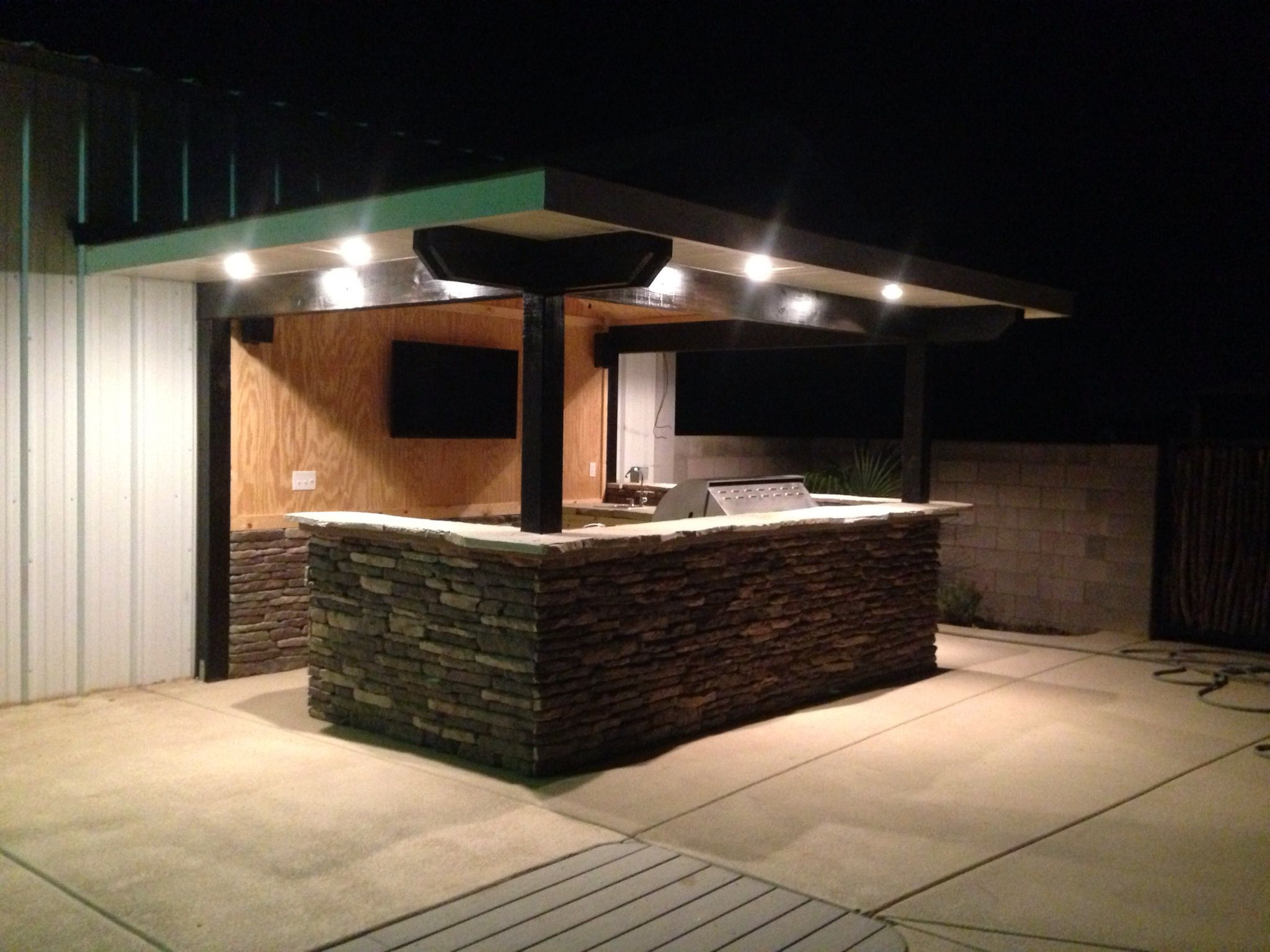 Finally Finished Poolside Outdoor Kitchen Complete With Hibachi