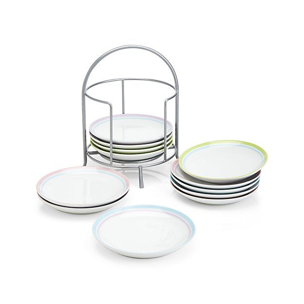 Set of 12 Spring Stripes Plate with Stand | Crate and Barrel  sc 1 st  Pinterest & Set of 12 Spring Stripes Plate with Stand - Crate and Barrel ...