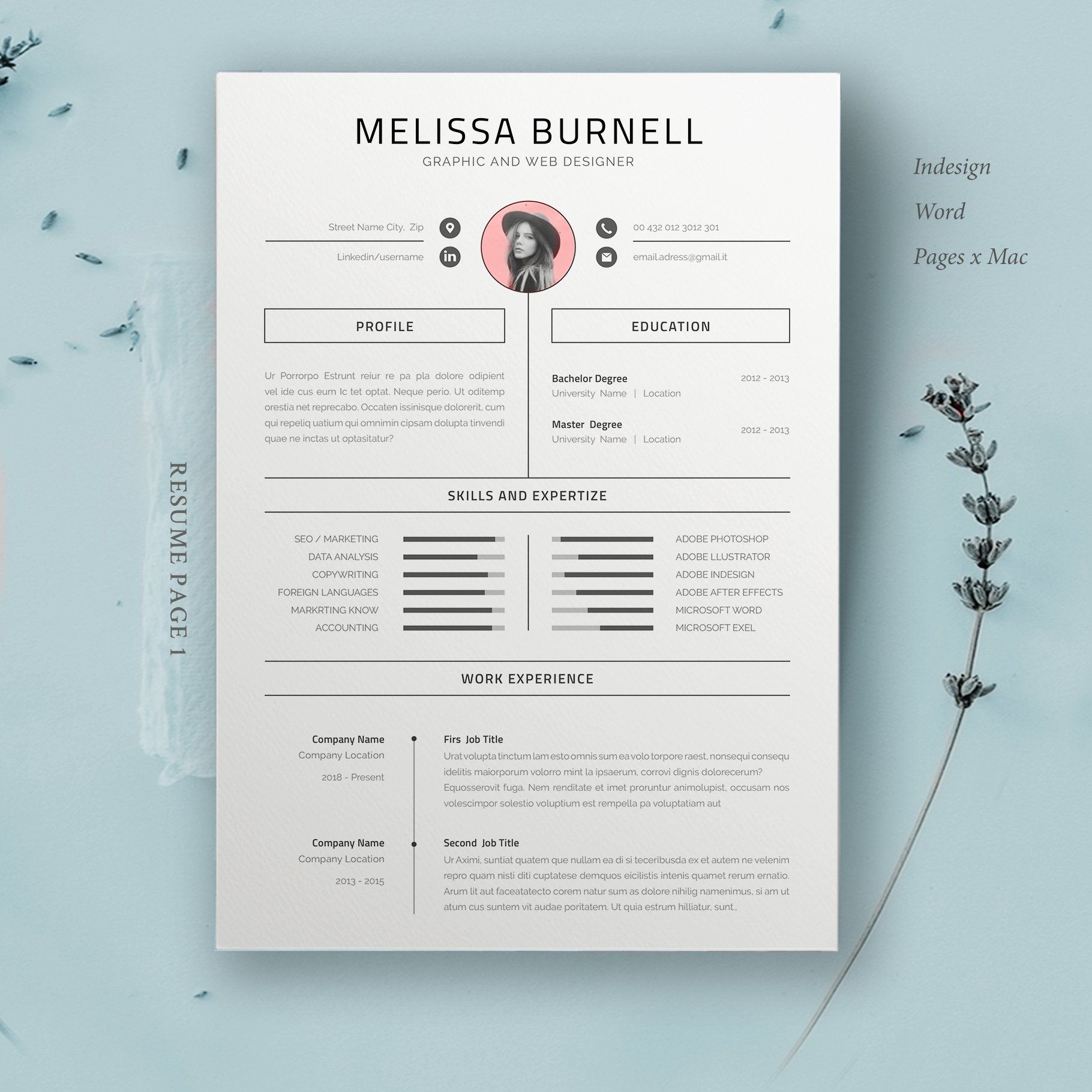 Resume Template Melissa in 2020 Resume template