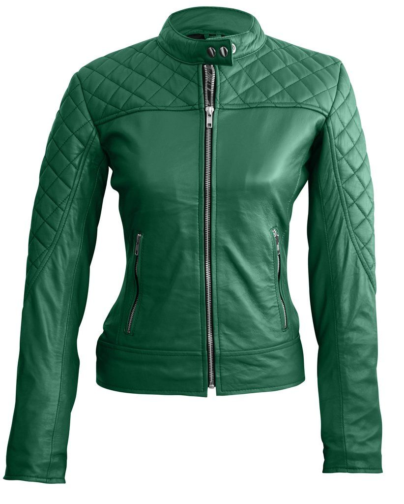 Leather Skin Women Green Quilted Genuine Leather Jacket Green Leather Jackets Genuine Leather Jackets Jackets For Women [ 1024 x 822 Pixel ]