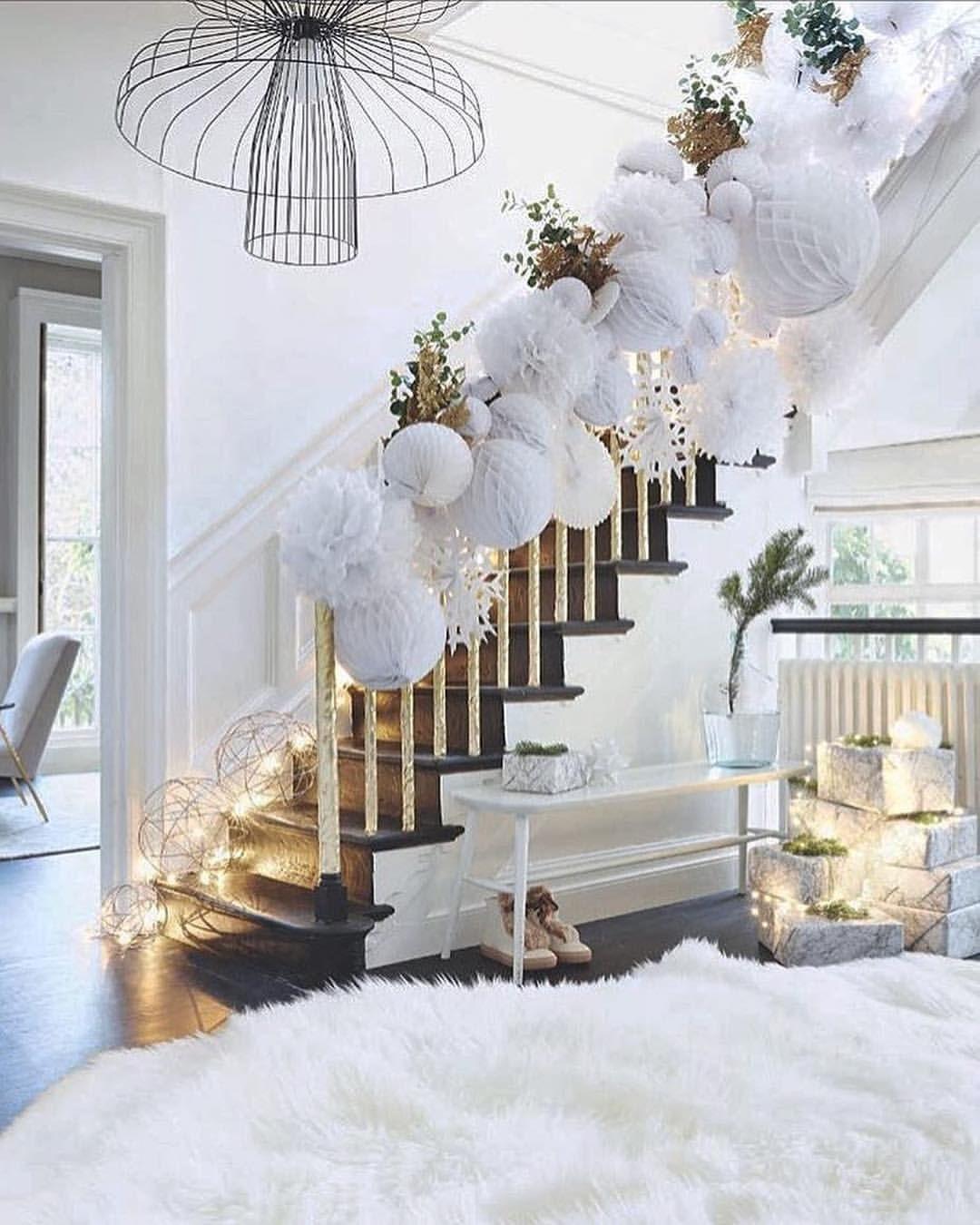 Winter cheer | Christmas staircase, Christmas interiors, White christmas decor