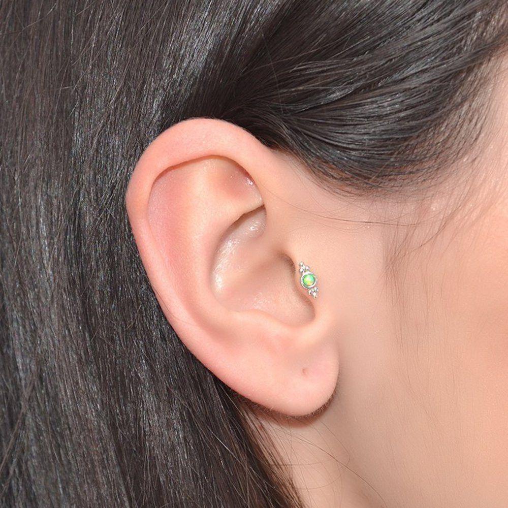 Best nose piercing jewelry  mm Kiwi Opal Tragus Earring Stud  jewelry  Pinterest  Tragus