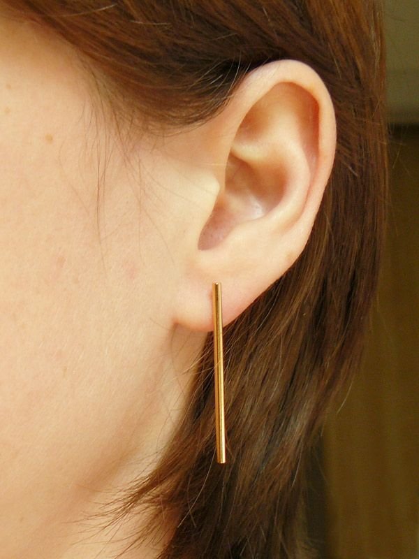 gold links delicate earrings bar products karma jewellery tiny studs i stud