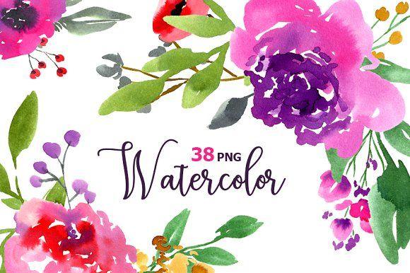 Watercolor violet purple flowers   Flores retro, Retro y Flores