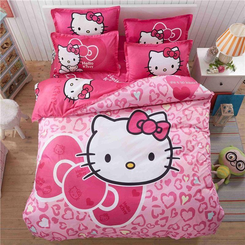 O Kitty Cartoon Bedding Set Kids With Duvet Cover Bed Sheet Of Linen Bedsheet Bedspread Sheets Queen Twin Size