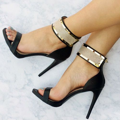 Find this Pin and more on High heel shoe inserts - ergonomic & permanent -  provide the 'holy grail' of fashion & comfort ! - Metallic Ankle Strap Heels.........see.........