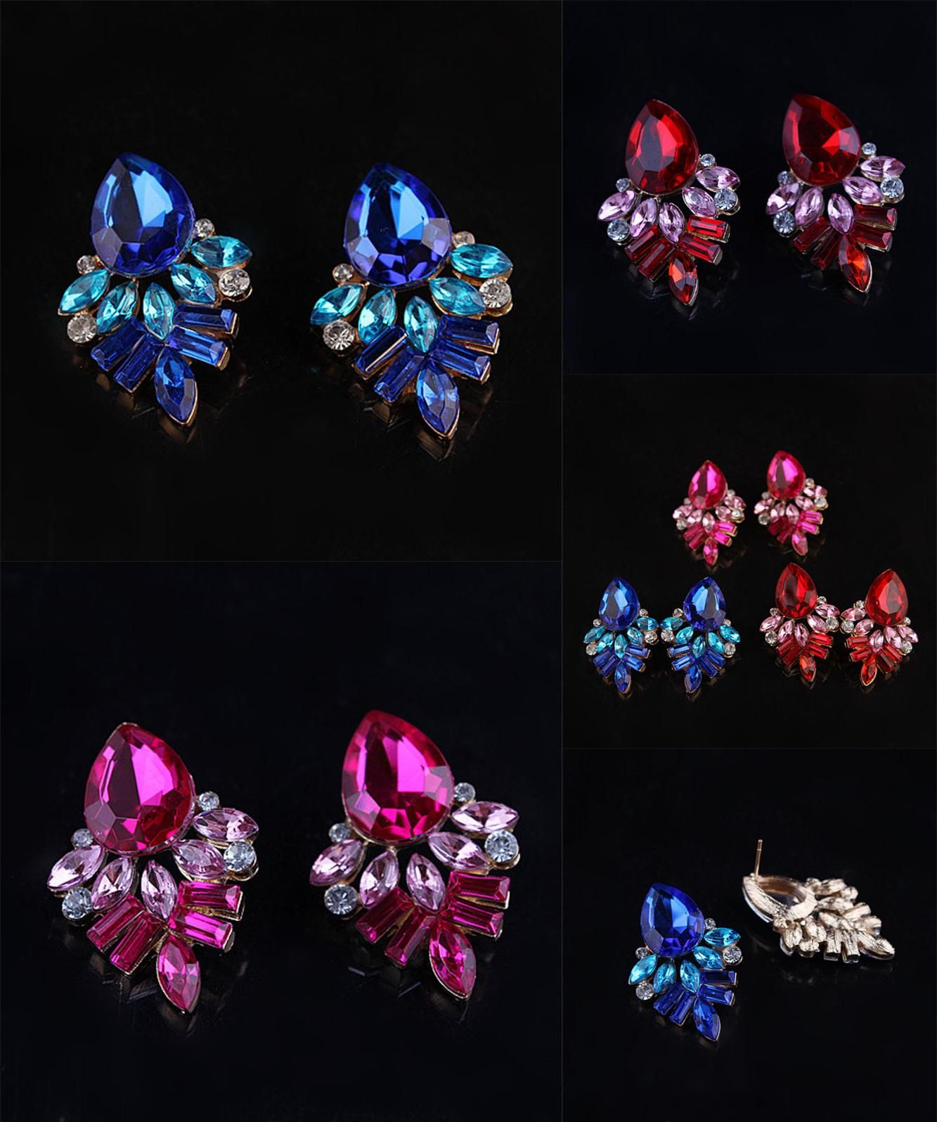 White Gold Color Stellux Crystal Blue Cube Stud Earring