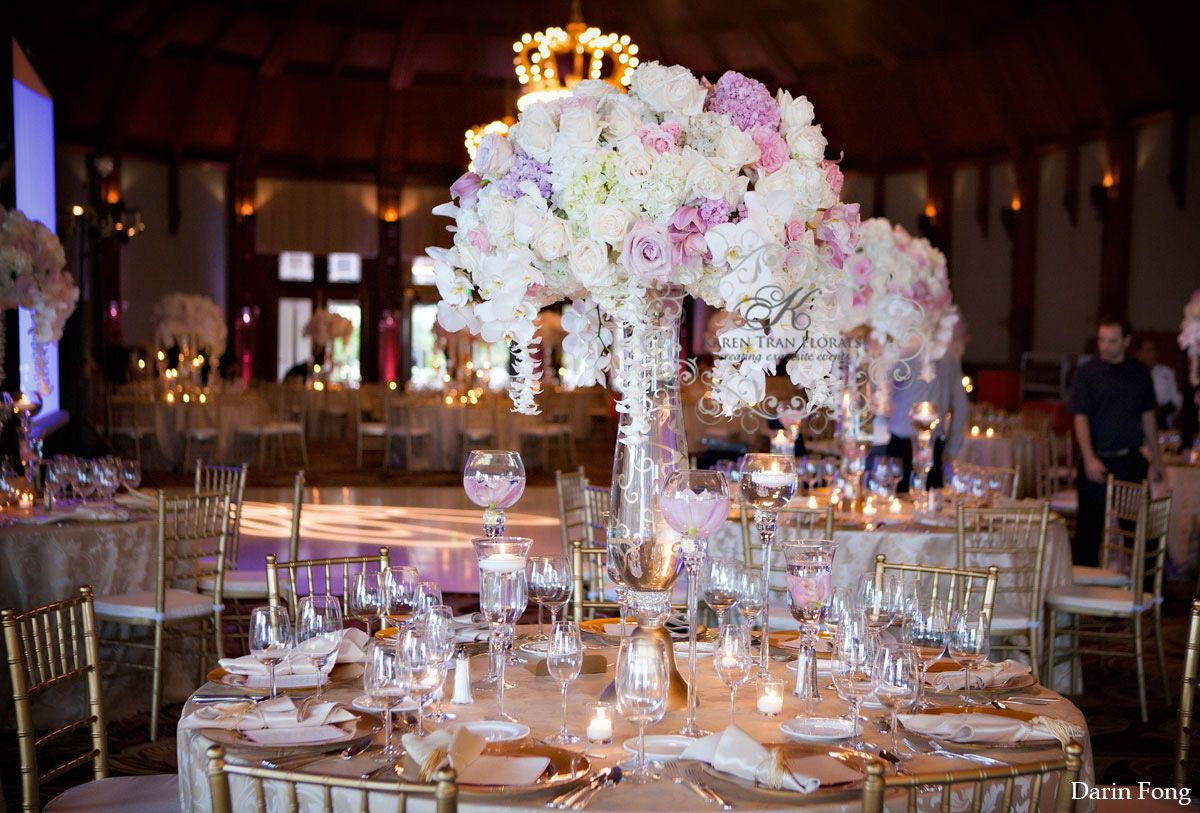 Luxurious and glamorous pink and gold palette wedding floral